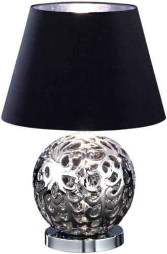 Honsel Leuchten 90121lámpara de mesa de cromo cerámica silberfarbig pantalla negro