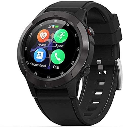 Reloj Inteligente IP67 Impermeable Hombres Brújula GPS Reloj Inteligente Multilenguaje Monitor de Frecuencia Cardíaca Recordatorio de Mensaje de Llamada Fitness Tracker-Plata-Negro-Negro