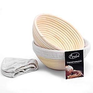 2 Pack 22cm Canasta de pan Banneton,Canasta de Caña de Ratán Natural Tejida a Mano con tela de Lino, Suministros para Hornear para Panaderos Domésticos y Profesionales.