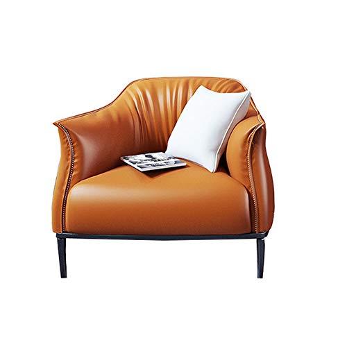 JOMSK Sofá Simple Cómoda Butaca De Cuero De Imitación For La Sala De Estar, Dormitorio, Club, Oficina 3 Colores (Color : Orange, Size : 80x78x78cm)
