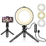 KIPTOP - Lampada ad anello per selfie con treppiedi, 6', luce ad...