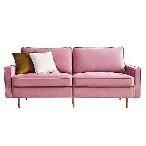 Sofá de 2 plazas, de tela, con reposabrazos, moderno sofá