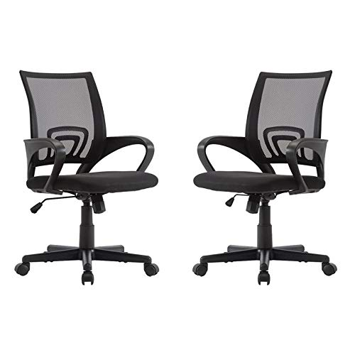 Pemberly Row Set of 2 Ergonomic Adjustable Mesh Computer Desk Chair with Armrests and Lumbar Support for Home and Office Swivel