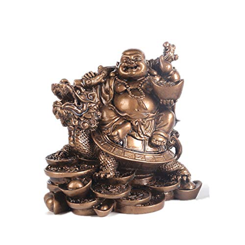 Laughing Buddha, Chinese Feng Shui Laughing Buddha Riding Dragon Turtle Statue Home Office Ornament Decoration Attract Wealth and Good Luck (Bronze)