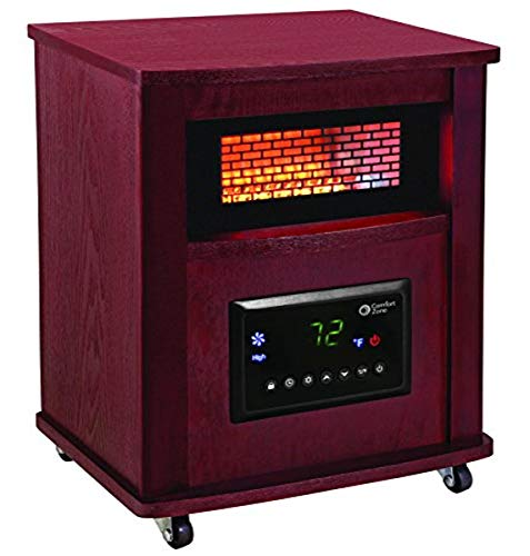 "Comfort Zone CZ2032C Infrared Quartz Wood Cabinet Heater, 16"", Cherry"