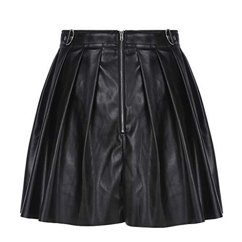 SHYPT Falda de Verano Oscuro, Calle de la Mujer, Remache con Cremallera Falda de Anillo de Metal Plisado, Material PU (Size : Medium)