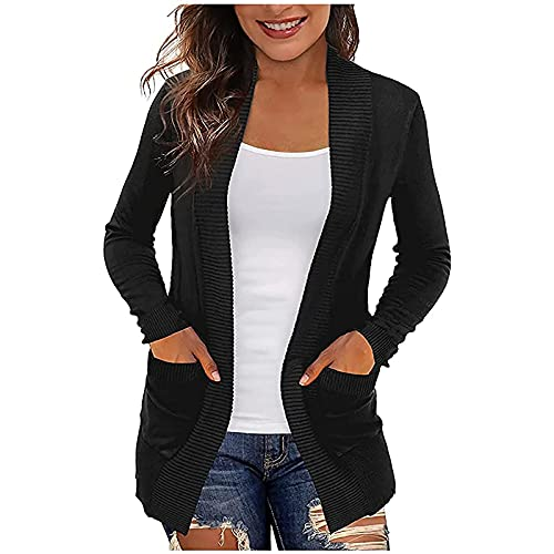 Sweaters for Women, Womens Long Sleeve Open Front Cardigan Lightweight Coat Casual Fall Sweater Tops with Pockets Black