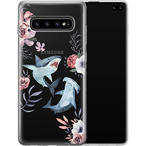 Vonna Phone Case Replacement for Samsung Galaxy S21 FE S20 Plus S10 Note 20 Ultra 5G S9 Whale Shark Flowers Design Print Floral Girl Fish Love Cover Cute Flexible Slim fit Smooth Soft Art Teen a360