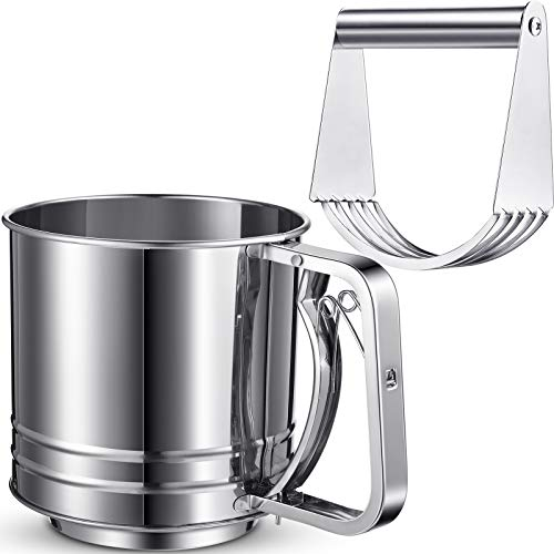 2 Pieces Stainless Steel Flour Sifter Rotary Hand Crank Sifter Handheld Powder Flour Sugar Sifter with Pastry Cutter Dough Blender for Baking Flour, Powdered Sugar and Other Flour