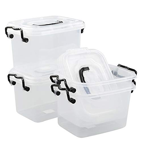 Farmoon 6 Quart Clear Storage Bin, Small Plastic Stackable Box/Cotainer with Lid and Black Handle, 4 Packs