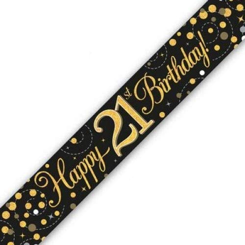 Happy 21st Birthday - National uniform free shipping Japan's largest assortment 9ft Banner Holographic Gold Fizz Black
