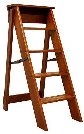 DSJMUY 5 Schritt Folding Tritthocker/Leiter Stuhl, Holz Treppe Trittleiter Verbreitert Hohe Hocker Hausgartenwerkzeug Schwere Max. 150kg Höhe: 88cm
