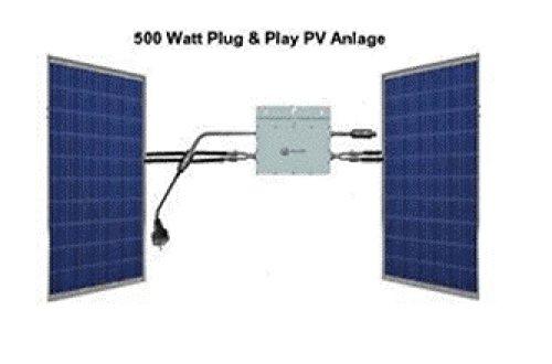 500 Watt Solaranlage (Photovoltaikanlage) Plug & Play für den Eigenverbrauch. Einspeisung, direkt in die Steckdose. Inkl. Montagematerial von WÜRTH für Ziegeldach