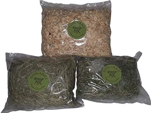 Paquete artículos esenciales para mascotas pequeñas – 250 g Heno de Montaña + 250 g Heno de Alfalfa de Calidad + 250 g de Virutas de madera