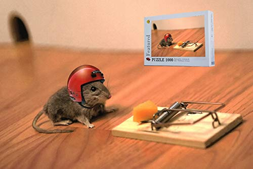 Fun Puzzles Intellectual Game for Adult- Mouse Cheese Mouse Trap Helmet Funny Situation -1000 Pieces Photo Wooden Jigsaw Puzzles
