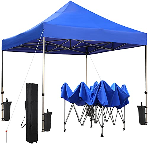 GARTIO 10X10FT Pop Up Canopy Tent, Heavy Duty Outdoor Commercial Instant Shelter, Waterproof Sun Shade Cover, 3-Level Portable&Folding Gazebo, W/ Wheeled Bag,4 Sandbag&Stake, for Market, Event, Beach