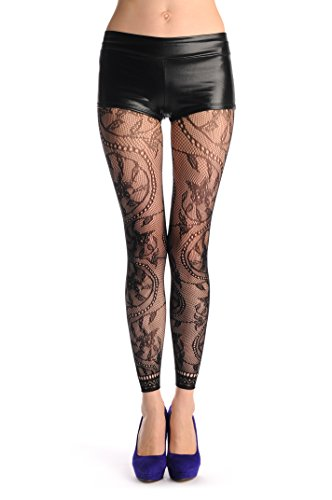 LissKiss Rounded Pearl Flowers With Lace Trim Footless Fishnet - Schwarz Blickdicht Netzstrumpfhose Ohne Fuß (Leggings) Einheitsgroesse (34-42)