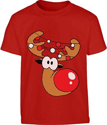 Shirtgeil Simpatica Renna nelle luci di Natale Maglietta per Bambini e Ragazzi 9-10 Anni (140cm) Rosso