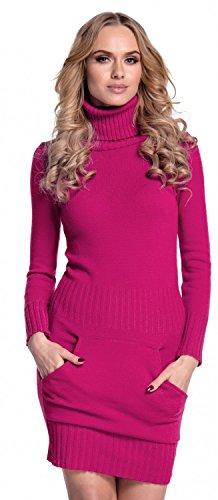 Glamour Empire. Damen Strickkleid Minikleid mit Stehkragen und Tasche vorne. 178 (Fuchsie, 36-38, ONE Size)