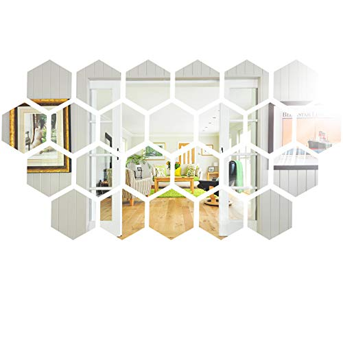 24 Pieces Removable Acrylic Mirror, Non Glass Self Adhesive Wall Sticker, Plastic Mirror for Home Living Room Bedroom Decor (Hexagon, 5 x 4.3 x 2.5 Inches)