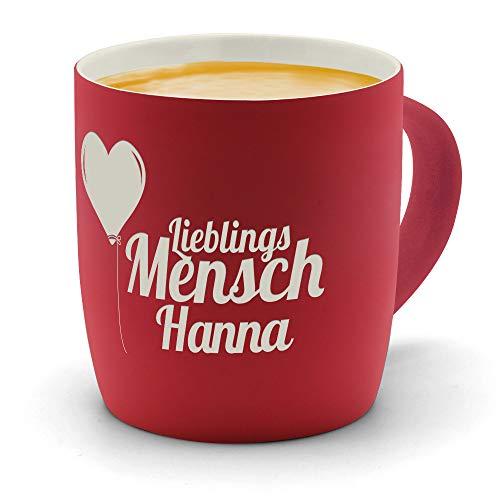 printplanet - Kaffeebecher mit Namen Hanna graviert - SoftTouch Tasse mit Gravur Design Lieblingsmensch - Matt-gummierte Oberfläche - Farbe Rot