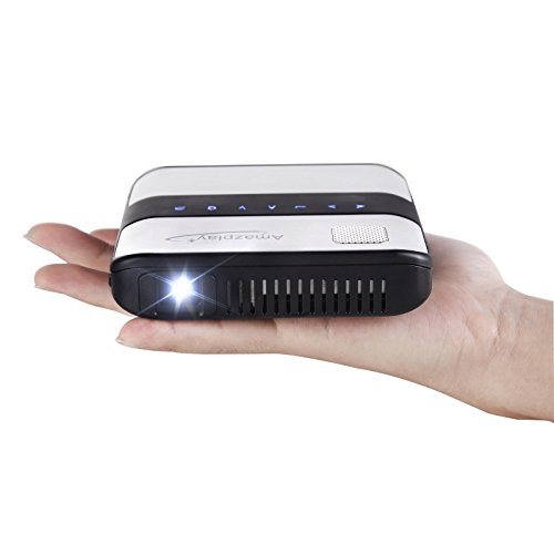 """Amaz-Play Mobile Pico Projector Portable Mini Pocket Size Multimedia Video LED Gaming Projectors with 120"""" Display, 120,000-Hour LED, Can Be Charged by Power Bank"""