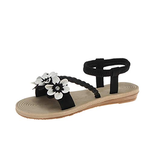 MIRRAY Fashion Sandals for Girls Elastic Ankle Strap Flat Flower Decro Slip On Slides Women's Summer Street Shoes Black