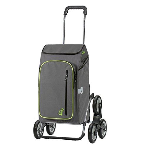 Andersen Einkaufstrolley Royal als Treppensteiger und 56 Liter Einkaufstasche Toto grau mit Kühlfach Einkaufswagen Stahlgestell klappbar