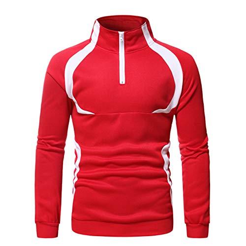 Mr.BaoLong&Miss.GO Autunno Nuovi Sport da Uomo Plus Size Maglione Moda Splicing Casual Collo Alto Pullover Maglione Maglione Casual da Uomo