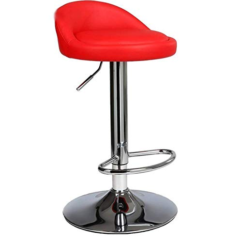 FLL Bar High Chair, European 360° Swivel Height Lift Adjustable, Synthetic Leather Metal Foot,Suitable for Bar Counter Gaming Room Party,red