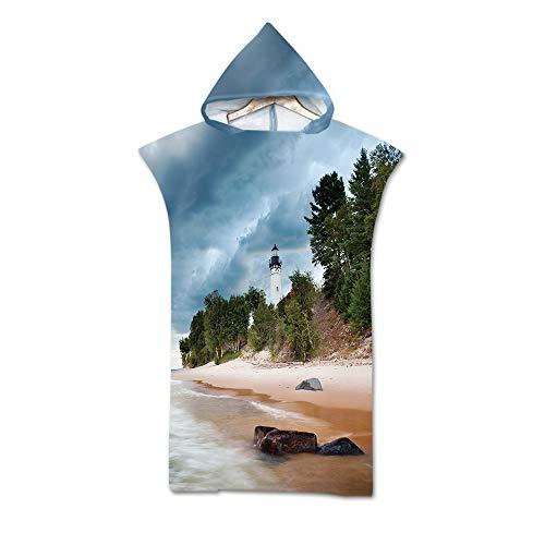 Treer Badeponcho Strand Poncho Strandtücher Handtuch Poncho mit Kapuze Schnelltrockend Bade Bademantel Baseball Badetuch Duschtücher Für Wassersport (75x110cm,Dunkelblauer Turm)