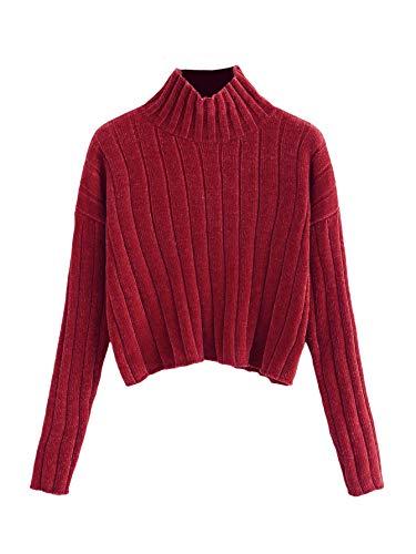 SheIn Women's High Neck Drop Shoulder Raw Hem Crop Sweater Pullovers Red Medium