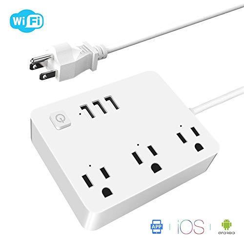 Verloco Intelligent stopcontact voor huis en kantoor, afstandsbediening voor mobiele toepassingen met wifi-functie, ondersteunt snel laden, USB 3,4 A, spraakbesturing, 100 – 240 V AC