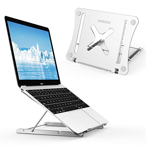 ANSGEC Supporto pc Portatile, Laptop Stand Tutto Alluminio Stabile, Protezione AntiGraffio, Supporto pc 12 Angoli Regolabile, Leggero Supporto Notebook per MacBook, dell, XPS, HP, Lenovo Altri 11-17