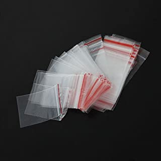Baost 100Pcs 4x6cm Ziplock Zip Lock Plastic Clear Poly Bags Reclosable Ziplock Storage Cello Bags Resealable Zipper Poly Bags for Jewelry Beads, Gift Card, Candy, Pill, Craft Random