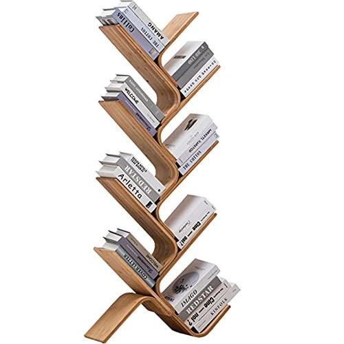 8 Ripiani Libreria ad Albero Bamboo,Regolabile libreria scaffale, Bookshelf Semplice curvo a forma,Display Scaffale per Soggiorno, Ufficio casa, Camera da Letto