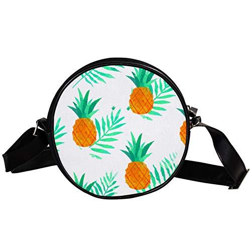Bandolera redonda pequeña bolso de mano para mujer, bolso de hombro de moda, bolso de mensajero de lona, riñonera, accesorios para mujer, piña blanca