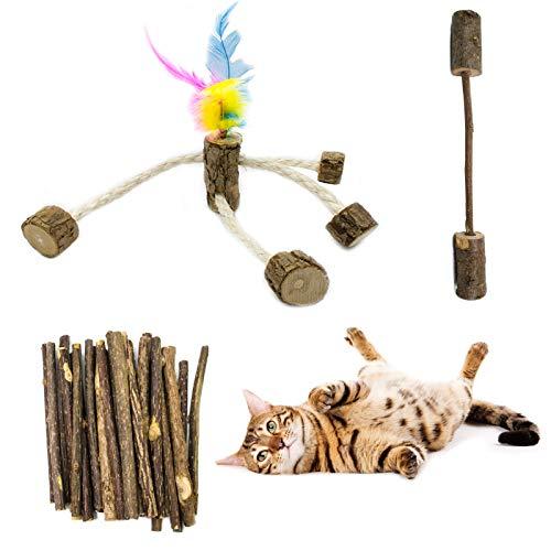 LLGLEU Katzenminze Sticks + Katzenspielzeug aus natürlich Matatabi Holz Katzen Kaustäbchen Molar-Spielzeug für Zahnpflege gegen Mundgeruch & Zahnstein (3 Typ)