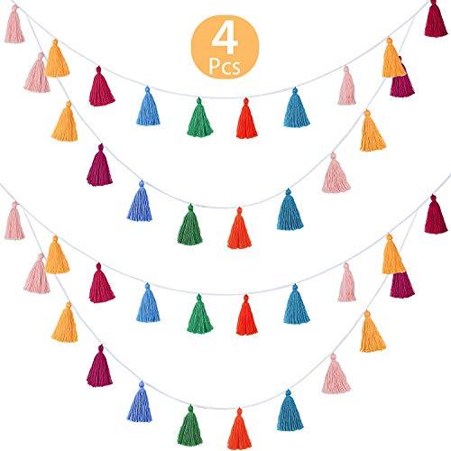 WILLBOND 4 Paquetes Borla de Algodón Borla Colorida Guirnalda Bandera Decorativo para Colgar en la Pared para Decoración Hogareña Suministros de Fiesta de Ducha de Bebé de Cumpleaños de Boda