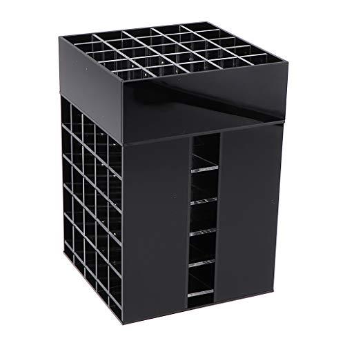 Fenteer Organiseur de Maquillage Support Stockage Cosmétiques Tournant à 360° Boîte de Rangement pour Cosmétiques 85 Grilles - Noir