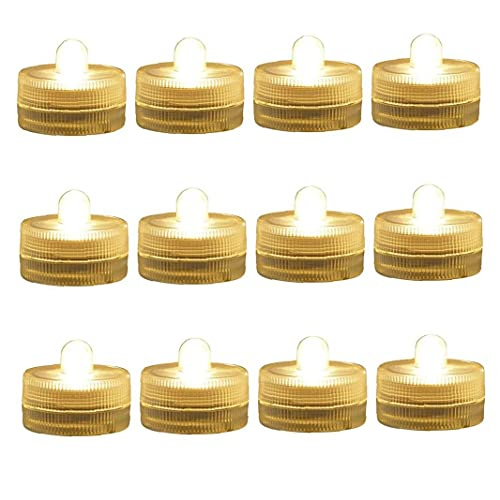 LED Candle Light Submersible Waterproof Tea Light Pool Light Home Decoration for Wedding Party Warm Light 12PCS Wedding Favours