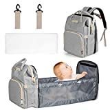 Mum & Cub Baby Diaper Bags with Changing Station, Large Capacity Baby Diaper Backpack with Bed, Baby Portable Bed Diaper Bag Backpack with Extendable Folding Cribs and Straps for Parents, Grey