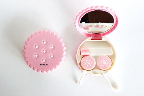 Kontaktlinsenbehälter Aufbewahrungsbehälter Etui Set Spiegel Motiv Keks Pink NEU