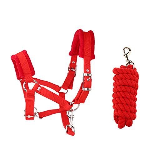 MagiDeal Cabezada Cabezal de Caballo M de Color Rojo Ajustable con Cuerda para Control 2.5m