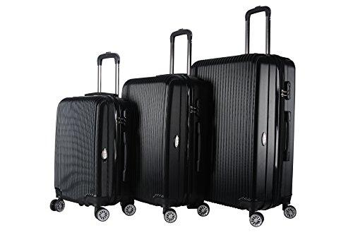 Brio Luggage Hardside Spinner Expandable Suitcase Set #1310 (Black)