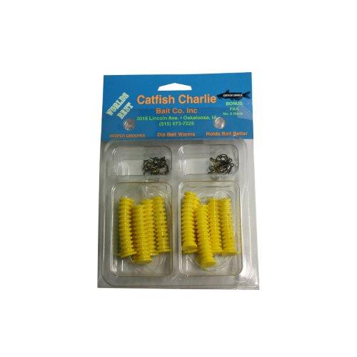 Catfish Charlies DBH-12-06 Dip Bait Worms-Pack of 12, Yellow