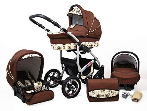 Kinderwagen Largo,3 in 1 -Set Wanne Buggy Babyschale Autositz mit Zubehör Brown Owl