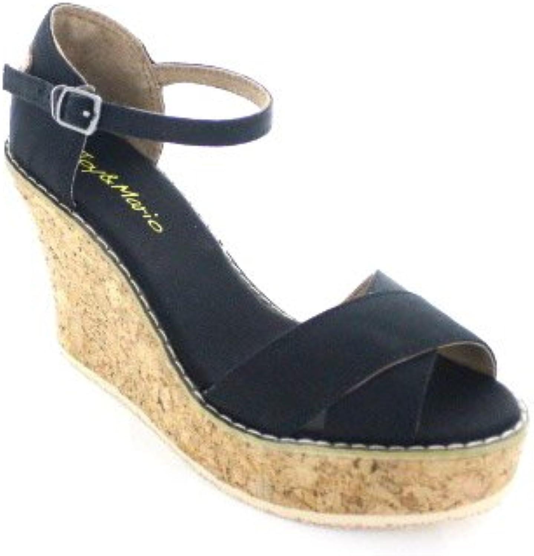Joy & Mario Women's Mari Wedges Sandals in Denim bluee and Black