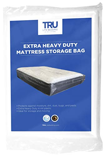 TRU Lite Mattress Storage Bag - Mattress Bag for Moving - Heavy Duty Extra Thick 4 Mil Plastic - Fits Standard, Extra Long, Pillow Top Sizes - King / California King Size
