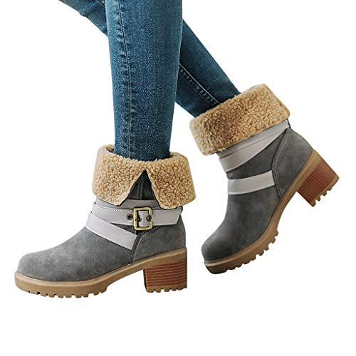 Great Deal! Dainzuy Women's Winter Snow Boots Strap Buckle Keep Warm Chunky Block Heel Faux Fur Outd...